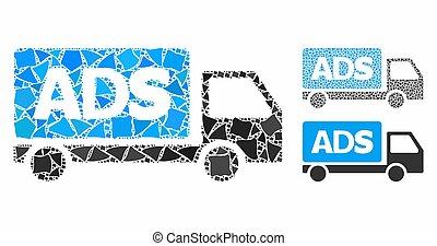 cahoteux, morceaux, icône, annonce, voiture, mosaïque