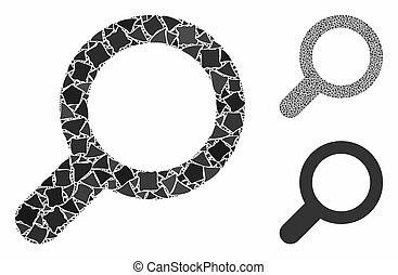 cahoteux, morceaux, icône, vue, mosaïque