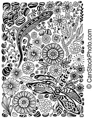 cailloux, gecko, fleurs, ensemble, libellule