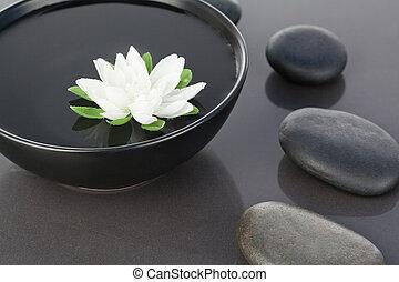 cailloux, noir, bol, entouré, flotter, fleur blanche