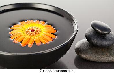 cailloux, noir, bol, pile, flotter, fleur orange