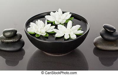 cailloux, noir, fin, fleurs, entouré, piles, haut, flotter