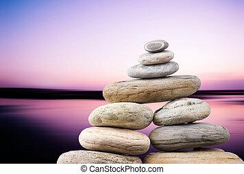 cailloux, soir, zen, concept., lisser, océan, arrière-plan., paisible, pile