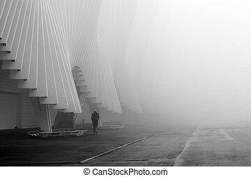 calatrava, station, rail, brouillard