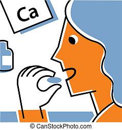 calcium, femme, supplément, manger
