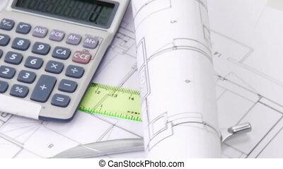 calculatrice, composition, tourner, architecture