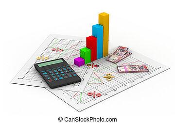 calculatrice, diagramme, business