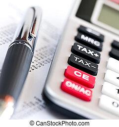calculatrice, impôt, stylo