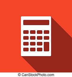 calculatrice, shadow., long, icône