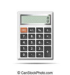 calculatrice, vecteur, isolé, fond, blanc