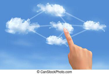 calculer, concept., main, toucher, connecté, vector., clouds., nuage