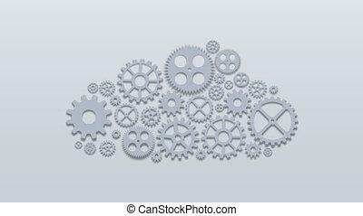 calculer, concept., moderne, mécanisme, arrière-plan., vidéo, engrenages, technologie, métrage, nuage, 4k