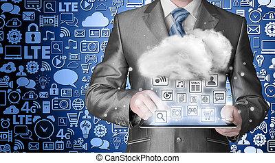 calculer, concept, technologie, nuage, connectivité