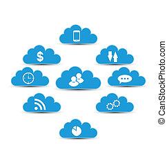 calculer, nuage, éléments, infographic, conception, technologie