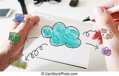 calculer, nuage, cahier, concept, blanc