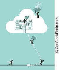 calculer, nuage, concept, business