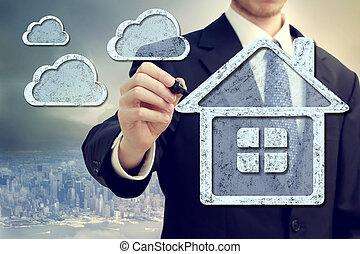 calculer, nuage, concept, maison