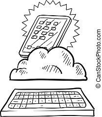 calculer, nuage, croquis