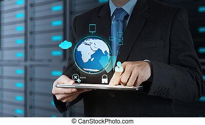 calculer, nuage, diagramme, sécurité, fonctionnement, homme affaires, globe, interface, informatique, 3d, concept, main, nouveau