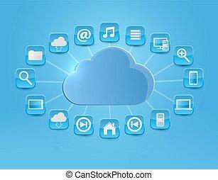 calculer, nuage, fond, icons., vecteur, illustration., concept