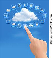 calculer, nuage, fond, vecteur, main., illustration., concept