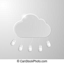 calculer, nuage, fond, vecteur, mouses., illustration., concept