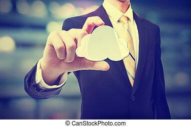 calculer, nuage, homme affaires, concept