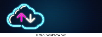 calculer, nuage, signe néon