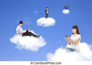 calculer, nuage, style de vie, technologie, concept