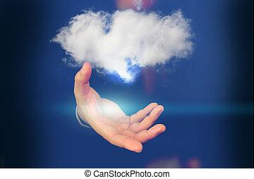 calculer, nuage, tenue, homme affaires, cloud.
