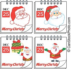 calendars., ensemble, noël, collection