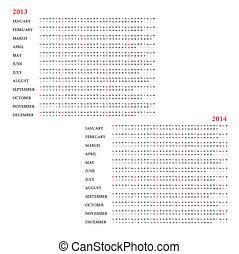 calendrier, 2013-2014, gabarit