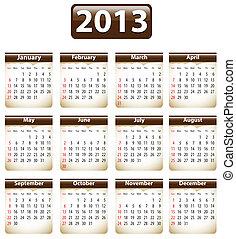 calendrier, 2013