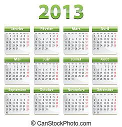 calendrier, 2013, francais