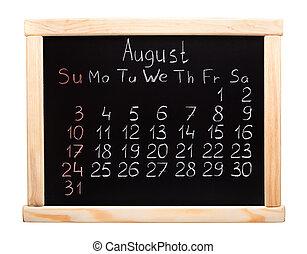 calendrier, 2014., août