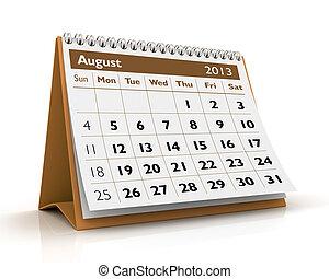 calendrier, août, 2013
