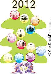 calendrier, arbre noël, 2012