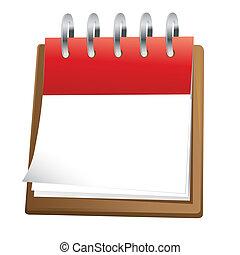 calendrier, art, agrafe, vide