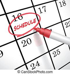 calendrier, cercle, horaire, mot, marqué