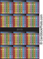 calendrier, coloré, 2013