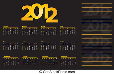 calendrier, conception, spécial, 2012