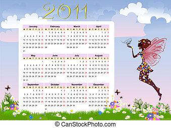 calendrier, fleur, fée