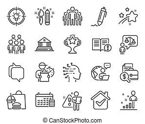 calendrier, gens, groupe, set., icônes, vecteur, icône, signs., included, education, avocat