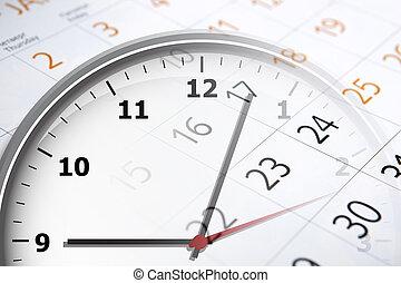 calendrier, jours, feuille, nombre, horloge