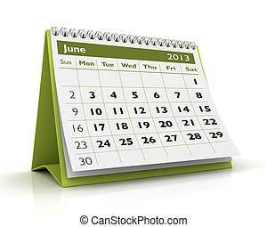 calendrier, juin, 2013