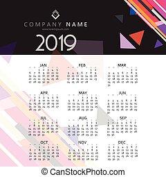 calendrier, moderne, conception