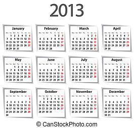 calendrier, mondays, 2013., premier