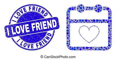 calendrier, mosaïque, amour, ami, bleu, timbre, cachet, gratté, valentin, page