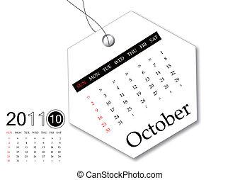 calendrier, octobre, 2011