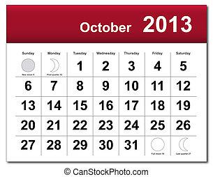 calendrier, octobre, 2013